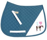 TuffRider I Heart Pony Saddle Pad, Parisian Blue
