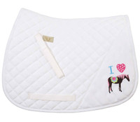 TuffRider I Heart Pony Saddle Pad, White