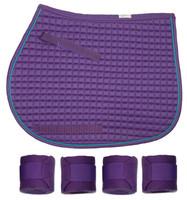 PRI Purple Quilted Pony Saddle Pad & Polos Set