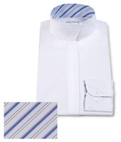 RJ Classics Children's Snap Collar Shirt , White with Blue Stripes, Sizes 8 & 16 Only