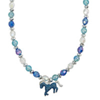 Horse Stretch Glitter Necklace, Turquoise