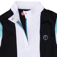 Kathryn Lily ProAir Tuxedo Block Shirt, White/Black/Sky