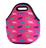 Horse Print Neoprene Lunch Tote, Pink