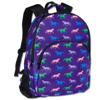 Horse Print Backpack, Purple