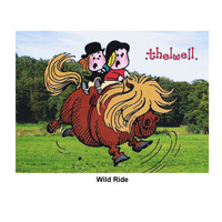 "Thelwell ""Out and About"" Greeting Card: 'Wild Ride'"