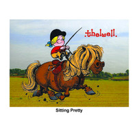 """Thelwell """"Out and About"""" Greeting Card: 'Sitting Pretty'"""