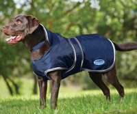 Weatherbeeta 420D Deluxe Fleece Lined Dog Windbreaker, Navy/Gray/White
