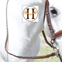 Huntley Equestrian Fancy Square Raised Laced Reins, Three Sizes