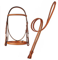 Edgewood Wide Noseband Raised, Fancy Bridle & Reins, Pony & Cob