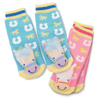 Baby Horse Rattle Socks, Blue & Pink