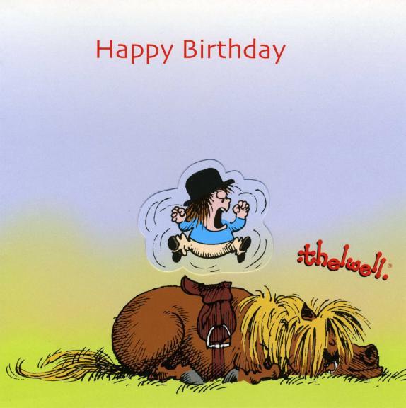 Thelwell Birthday Card 'Wake Up
