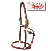 Walsh Sportsman Leather Halter, Chestnut with White Stitching
