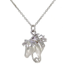 Sterling Silver and Swarovski Crystals Fantasy Horse's Head Pendant (Small) & chain
