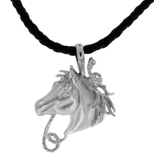 Sterling Silver and Swarovski Crystals Fantasy Horse's Head Pendant