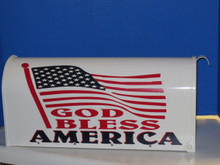 God Bless America Mailbox with red white and blue colors and American Flag