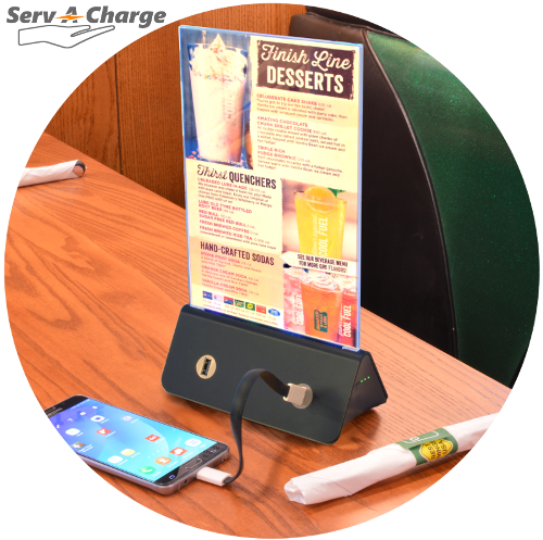 EasyCharge USB Table Charger With Menu Holder Intuitive Signage - Table menu holders for restaurants