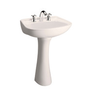 "Barclay HartFord Pedestal Sink, 8"" Widespread, Bisque Finish"