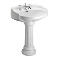 "Barclay Vicki Pedestal Sink, 4"" Centerset Faucet, White Finish"