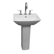 "Barclay Summit 600 Pedestal Sink, 4"" Centerset Faucet, White Finish"