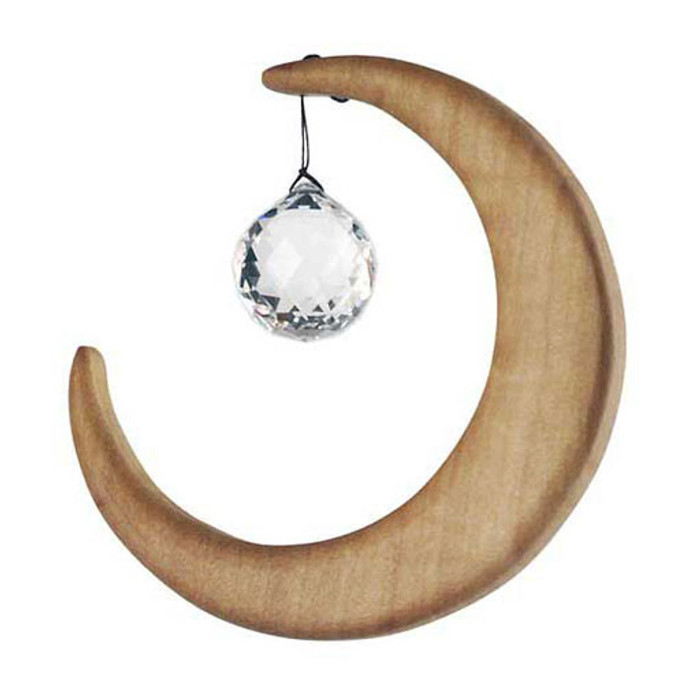 wooden moon with spherical crystal