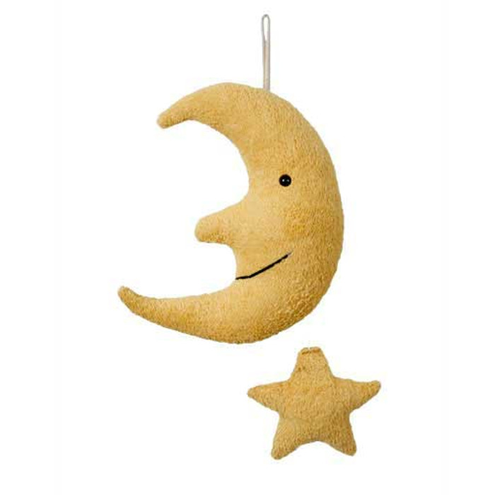organic cotton and wool musical moon lullaby with star mobile