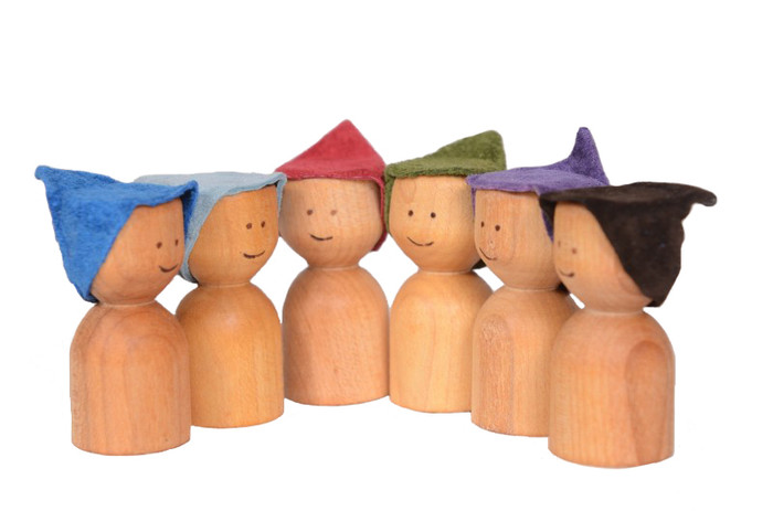 little wooden elves with suede hats
