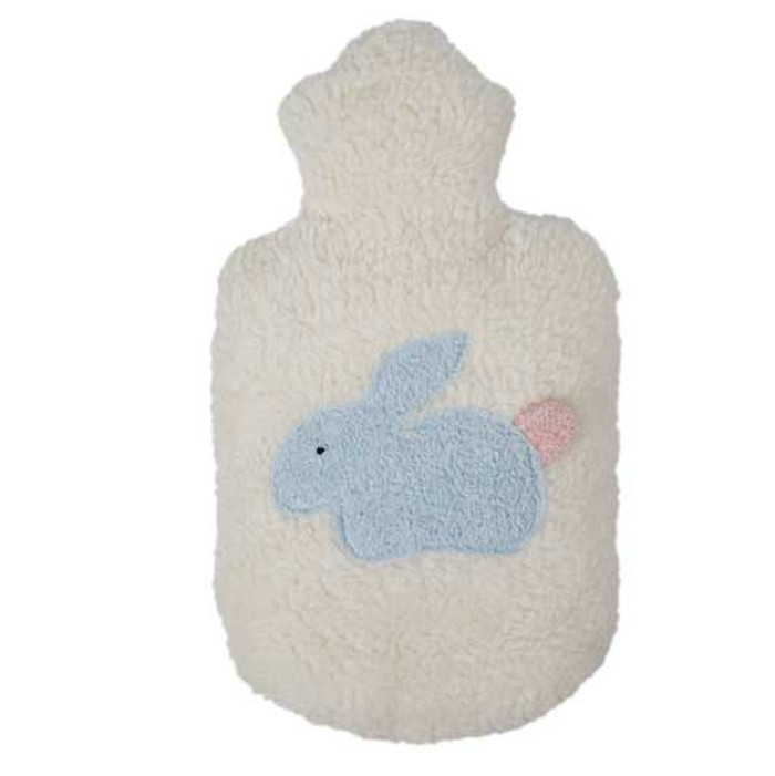organic cotton hot water bottle with bunny