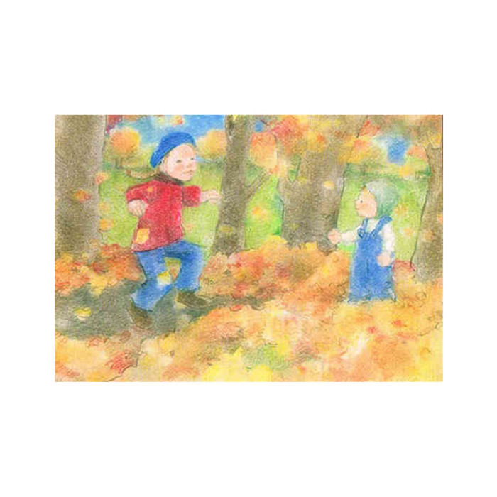 Playing with Leaves postcard