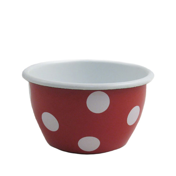 red dotted cereal bowl