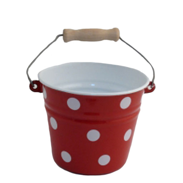 red with white polka dots child's enamel bucket.  Made in Poland.