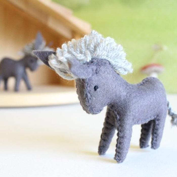 Glueckskaefer wool felt donkey