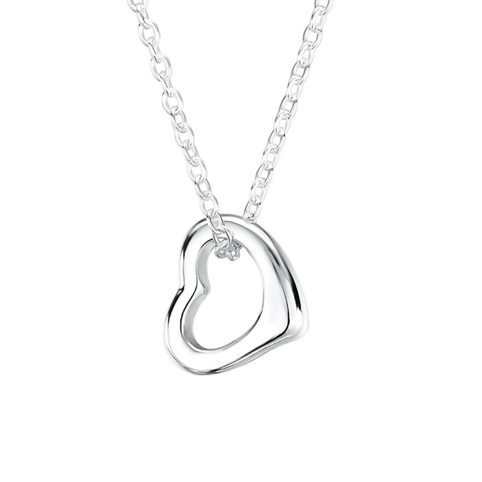 open heart pendant with necklace