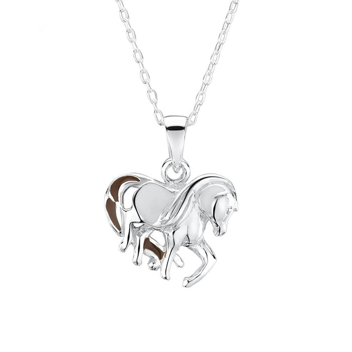 white horse pendant with necklace