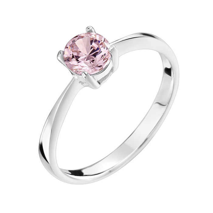 pink cubic zirconia sterling silver ring