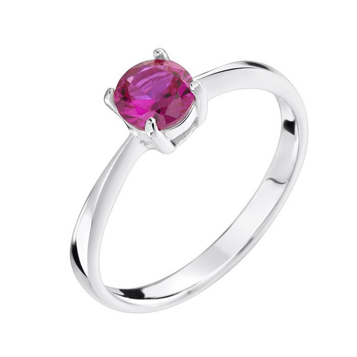 ruby cubic zirconia sterling silver ring
