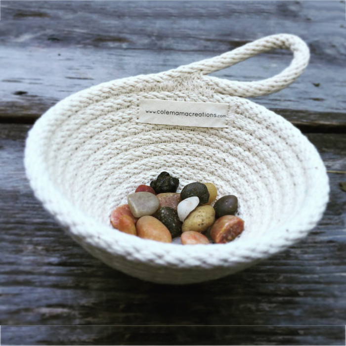 tiny cotton basket with handle