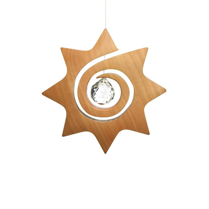 hanging spiral sun with crystal