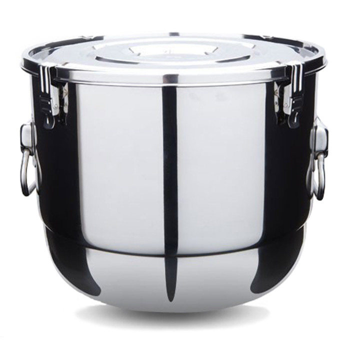 potluck sized stainless steel container, 30cm diameter