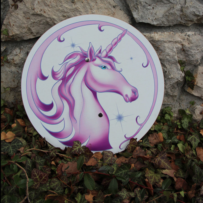Unicorn shield.  34 cm diameter.  Wooden.  Made in Germany.