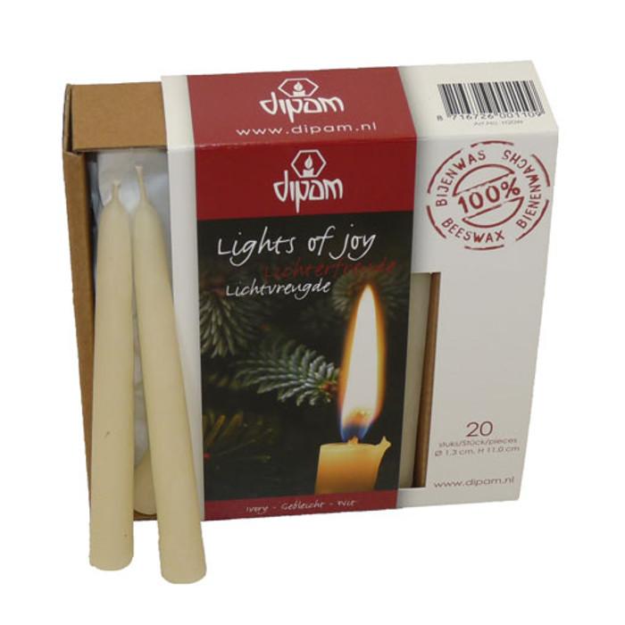 Christmas tree candles, 100% beeswax candles 13mm diameter, white