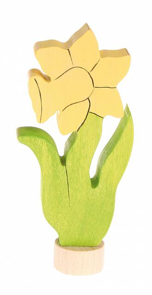 Grimm's handcoloured daffodil ornament for birthday ring.