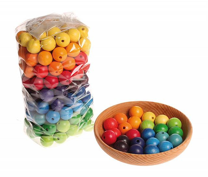 wooden beads, multi-coloured 20mm