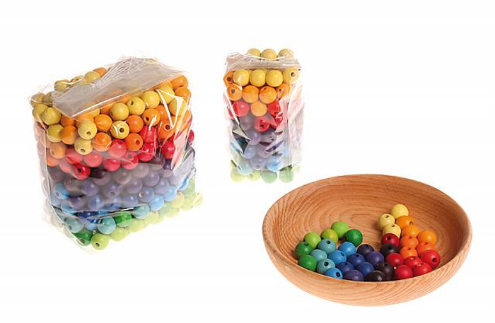 wooden beads, multi-coloured 12mm