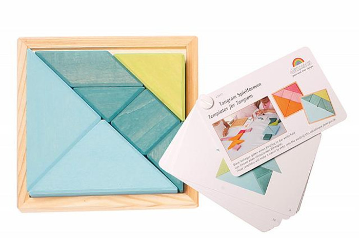 tangram set, blue-green