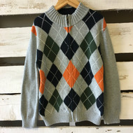 Gymboree Grey Zip Argyle Cardigan