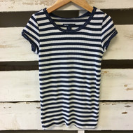 Baby Gap Navy & White Striped Ribbed Top