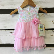New! Sweet Heart Rose Pink Pleated Skirt Floral Dress
