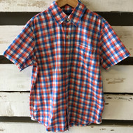 Gap Kids Orange & Blue Checkered Button Up Shirt