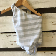 Baby Gap Silver & White One Shoulder Swimsuit