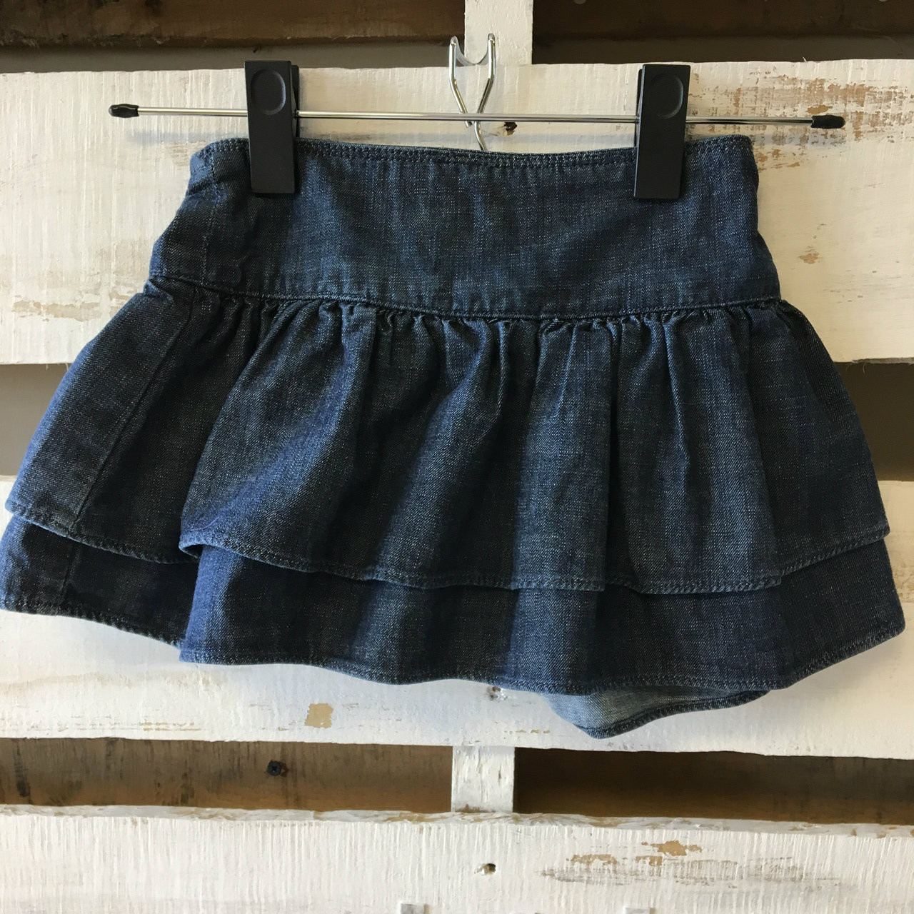 baby gap denim chambray denim ruffle skirt
